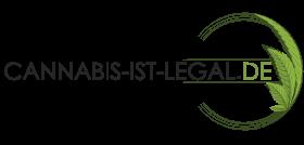 Cannabis ist legal Schriftzug mit gebogenem Cannabis-Blatt als Weltkugel