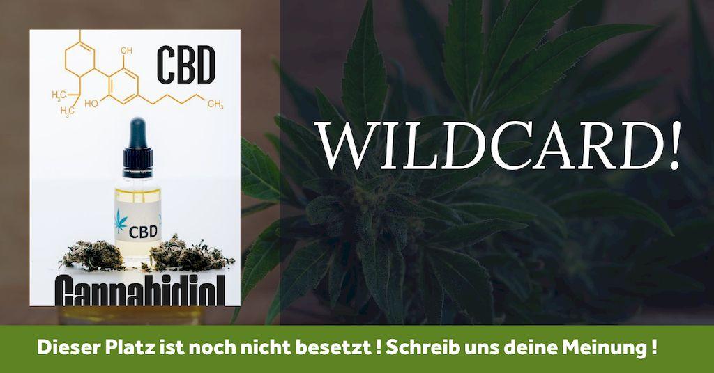 CBD Marke WILDCARD zeigt CBD Öl vor Cannabis Pflanze und getrockneten Blätter mit CBD Chemie Formel im hintergrund