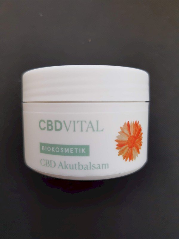 geschlossene, weiße, Dose CBD Akutbalsam von CBD-Vital.