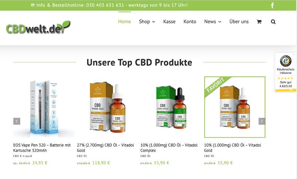 Homepage von CBDWelt.de mit CBD Produkten
