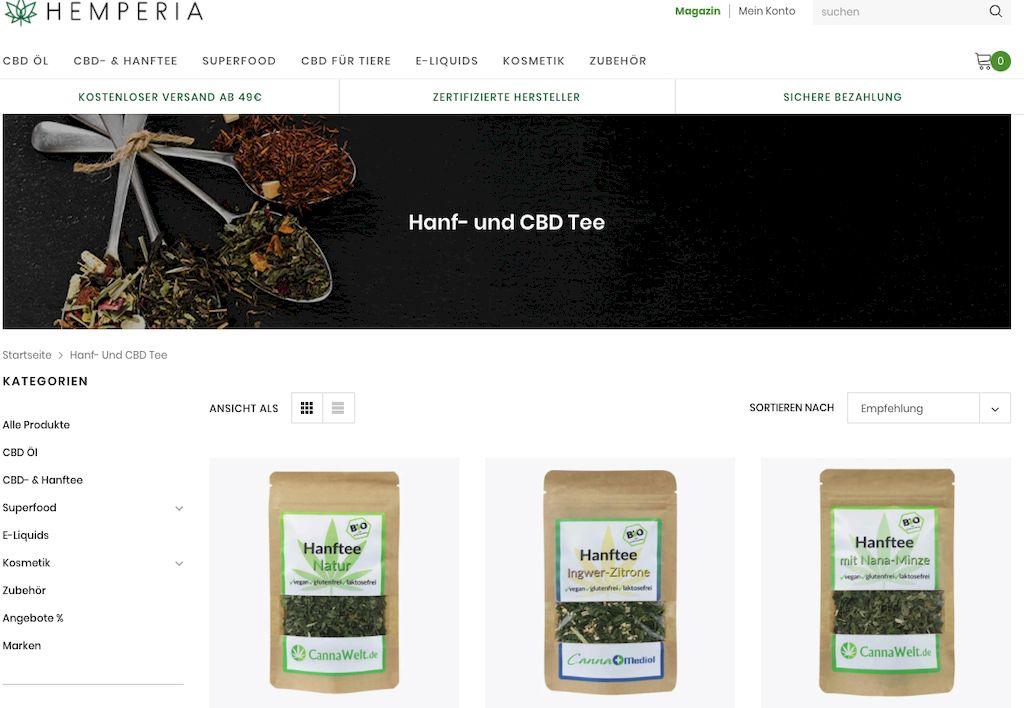 Hemperia CBD & Hanf Tee 3 Teesorten in brauner Verpackung