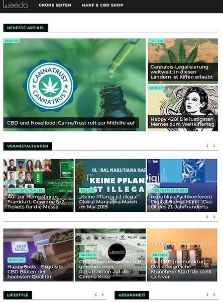 gruene Seiten Weedo Online Magazin zum Themen Cannabis, CBD, und hanf